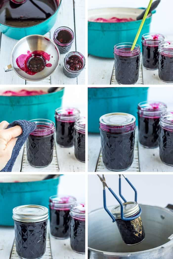 6 step by step photos showing how to can blackberry pancake syrup