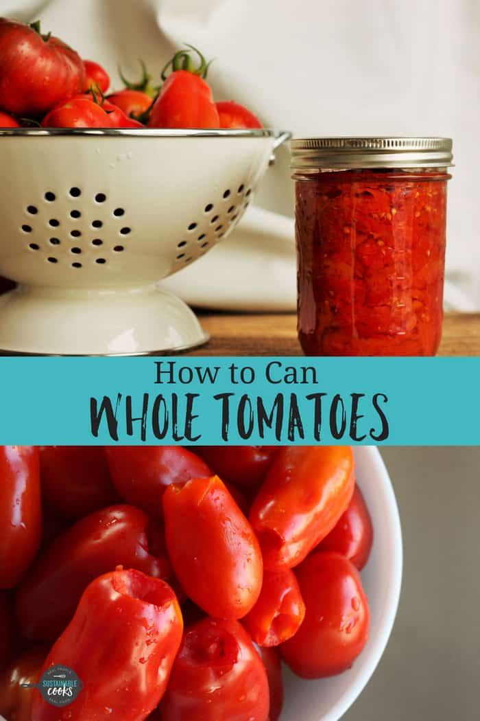 A step-by-step tutorial on how to can whole tomatoes. This easy to follow process is perfect for beginners and covers both water bath and pressure canning methods. #sustainablecooks #canningtomatoes #waterbathcanning #pressurecanning #wholetomatoes #preservingtomatoes