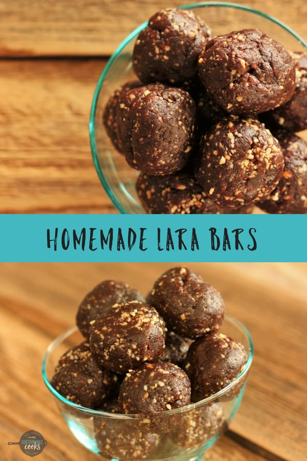 Delicious no-bake Homemade Lara Bars are Whole30 compliant and paleo. Packed with flavor from dates and cashews, they are the perfect bite. Variations include apple pie, cherry pie, and chocolate. #sustainablecooks #larabars #whole30 #paleo #snacks #glutenfreerecipes #glutenfree