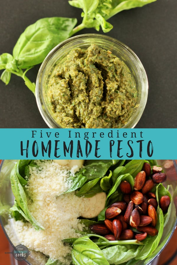 A healthy and easy homemade pesto recipe comes together with only 5 simple ingredients. Made without pine nuts to make it more affordable, this versatile sauce goes with everything. #sustainablecooks #pesto #homemadepesto #homemadepestorecipe #healthypesto #pestorecipe