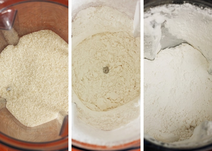The 3 stages of making homemade powdered sugar