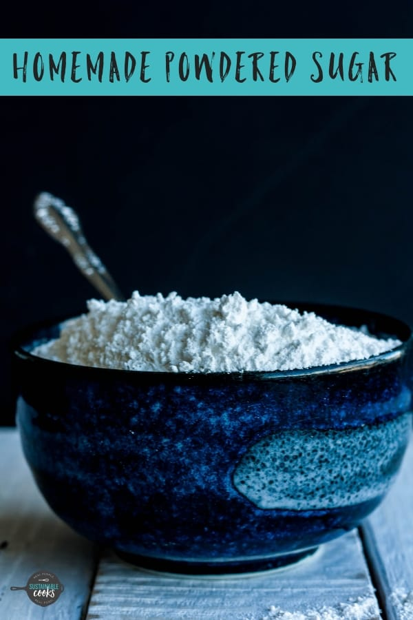 Learn how to make powdered sugar at home! Powdered sugar without cornstarch is affordable for your favorite recipes like frosting, icing, or whipped cream. You'll never buy storebought again!