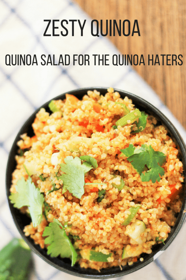 This zesty quinoa salad will convert even the staunchest quinoa hater. This delicious quinoa salad is full of crunchy veggies and packs an amazing flavor.