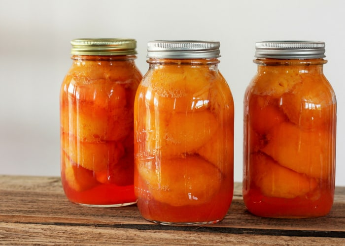 Three quarts from home canning peaches