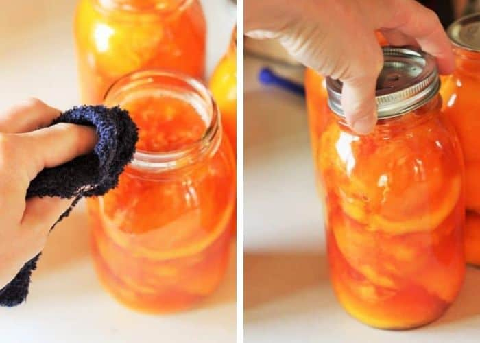 two photos showing jars being processed for canning peaches