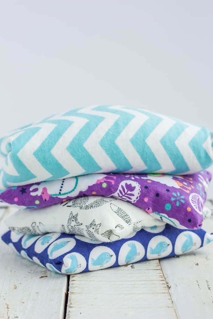 4 aromatherapy rice bags in a stack