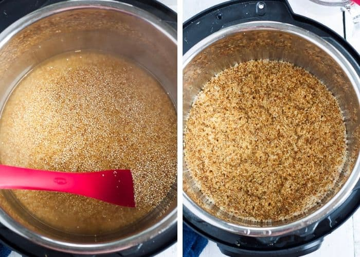 two photos cooking quinoa in a pressure cooker