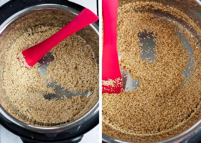 two photos showing toasted quinoa