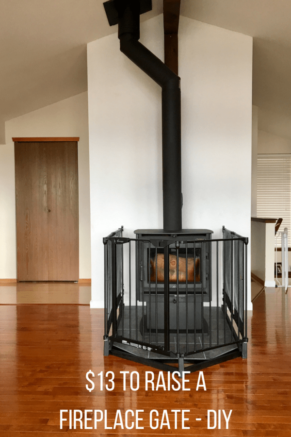 $13 Fireplace gate DIY project that raises a store-bought baby gate to accommodate taller kids. A tutorial on raising a baby gate for fireplace safety.