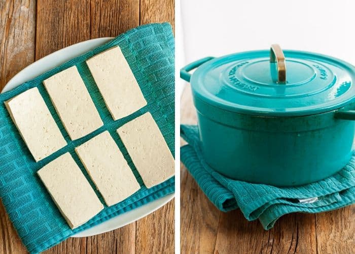2 photos showing how to press tofu