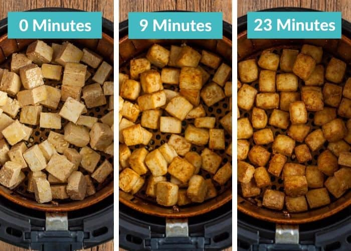 3 photos showing the various stages of frying tofu in the air fryer