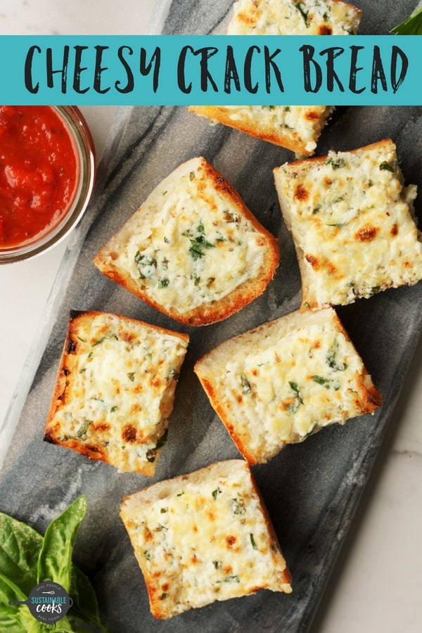 Transform a baguette into Crack Bread, the best homemade Cheesy Garlic Bread you've ever tried. This easy recipe lets you make delicious and affordable cheesy bread from scratch. #sustainablecooks #cheesygarlicbread #garlicbread #makeahead #kidapproved