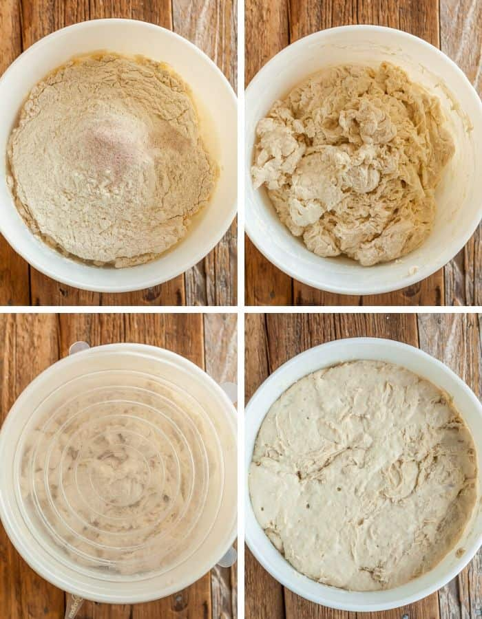 4 process steps showing how to mix no knead bread