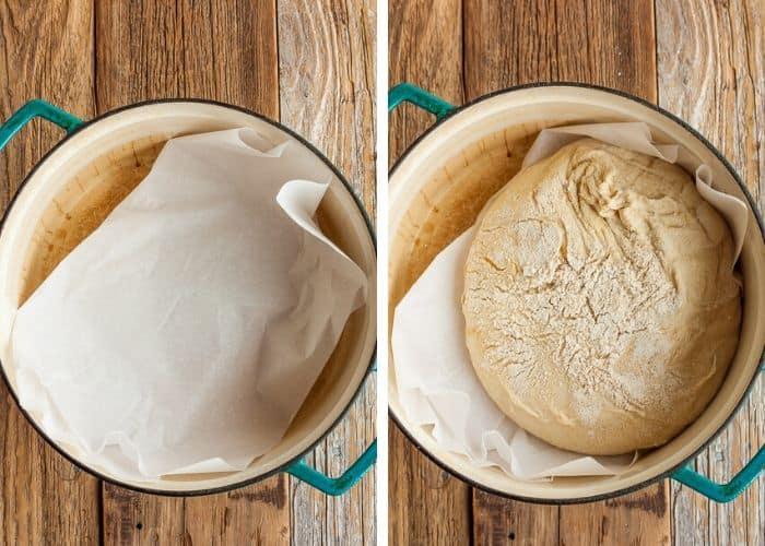 2 photos showing a dutch oven for bread baking