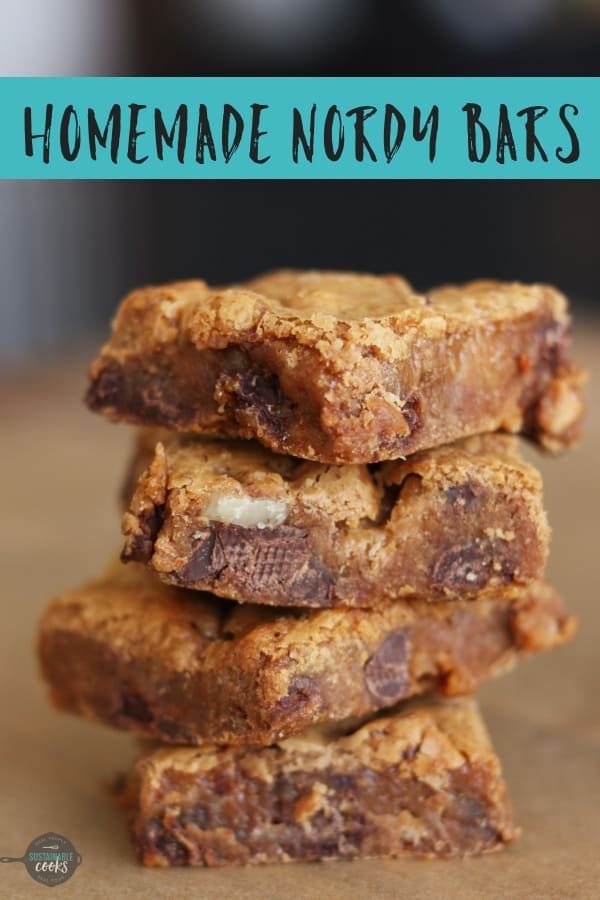A homemade version of the famous Nordy Bar recipe from Nordstrom. This easy recipe combines chocolate chips, butterscotch, and marshmallows into a delicious cookie bar that is perfect for a crowd. #sustainablecooks #nordybars #nordstrom #cookiebars #marshmallow #butterscotch