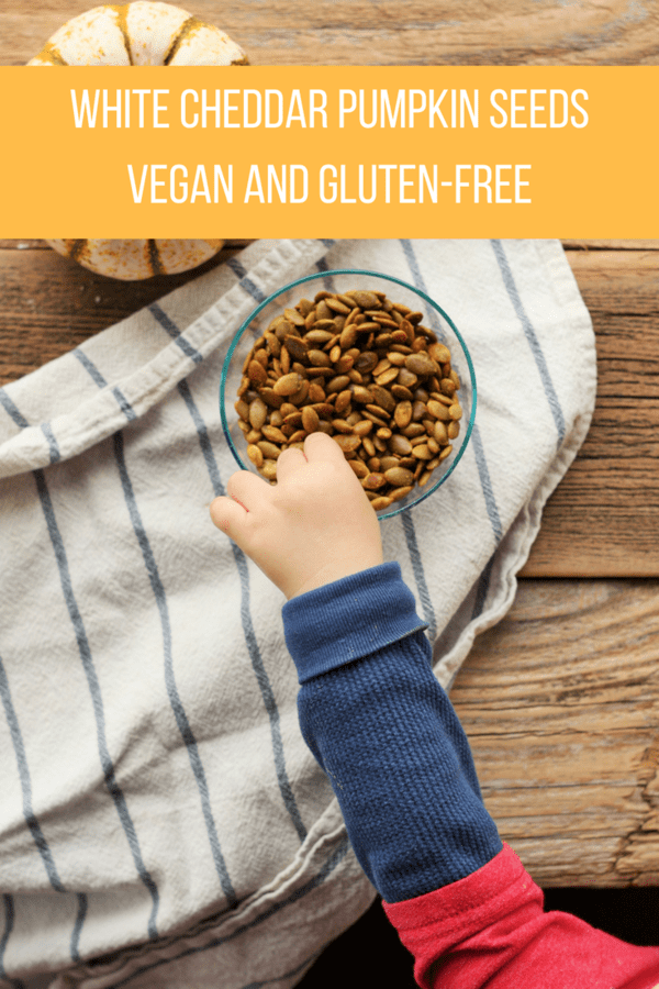 White Cheddar Pumpkin Seeds are both vegan and gluten-free. These seeds are delicious and addictive. Try flavored - don't get bored with the gourd.