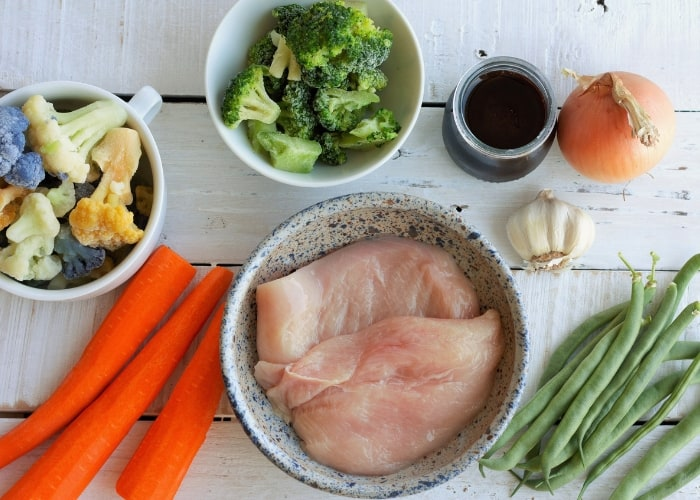 chicken, veggies, and other ingredients for baked teriyaki chicken