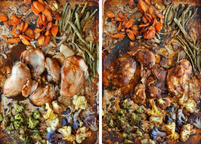 Baked teriyaki chicken on a sheet pan before and after baking