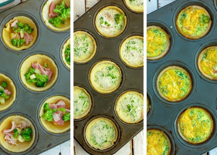 3 photos showing mini quiche appetizers being cooked