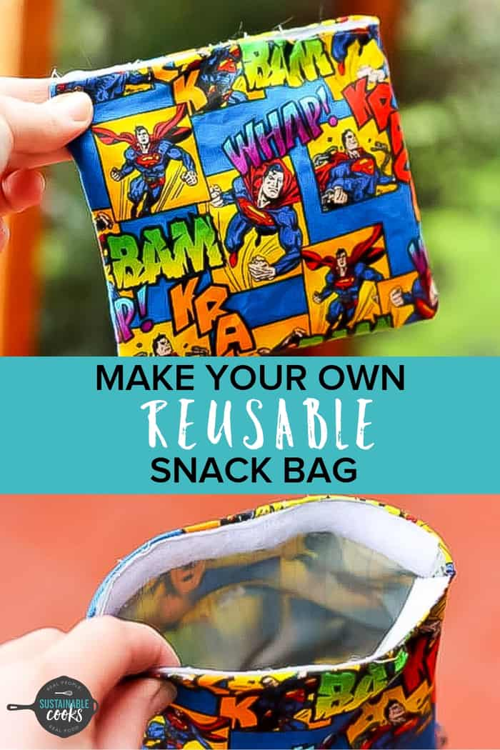 An easy tutorial for DIY eco-friendly Reusable Snack Bags. Learn how to make these washable and sustainable snackand sandwich bags. #reusablesnackbags #reusableziplocs