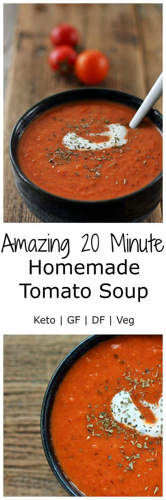 Homemade tomato soup full of delicious flavors and creamy goodness. A few simple ingredients create an amazing and tasty bowl of comfort and joy.
