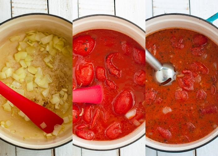 Three photos showing the process for making dairy-free tomato soup