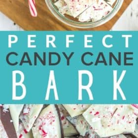 Pieces of candy cane bark in a glass bowl