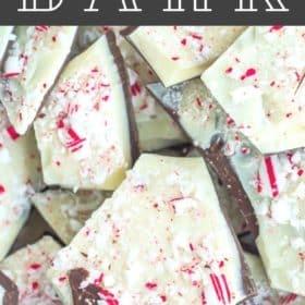 Shards of candy cane bark on a baking tray