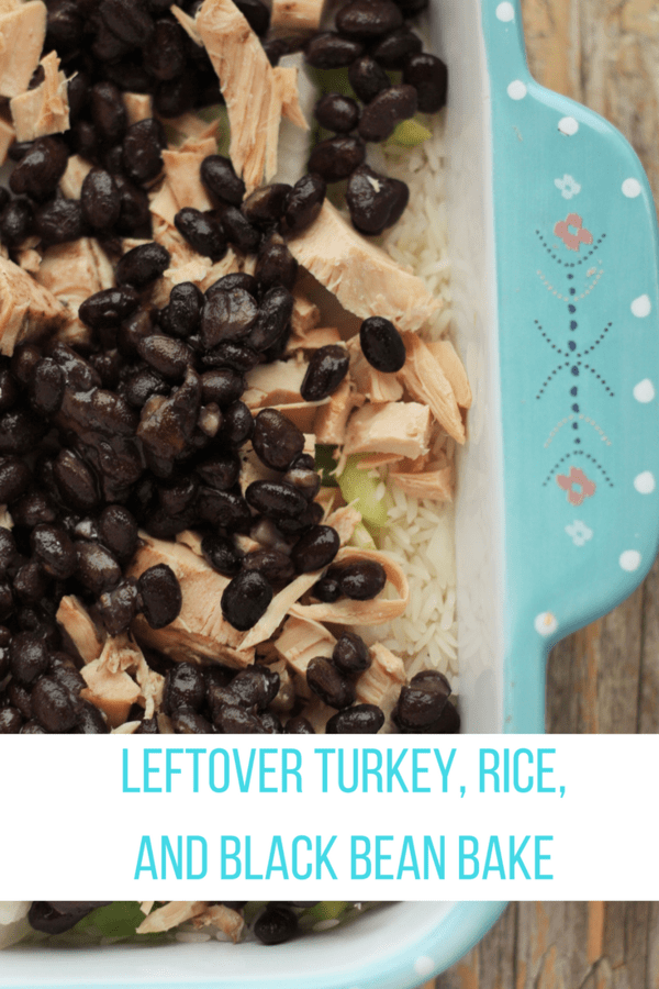 Leftover Turkey, Rice, and Black Bean Bake is the perfect use of holiday leftovers. Healthy and delicious flavors make this an easy post-holiday meal.