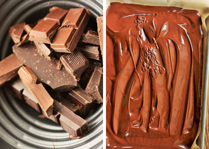 Two side by side photos of chocolate melting