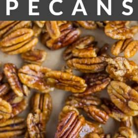 a close up of candied pecans