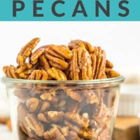 A glass bowl of stovetop candied pecans