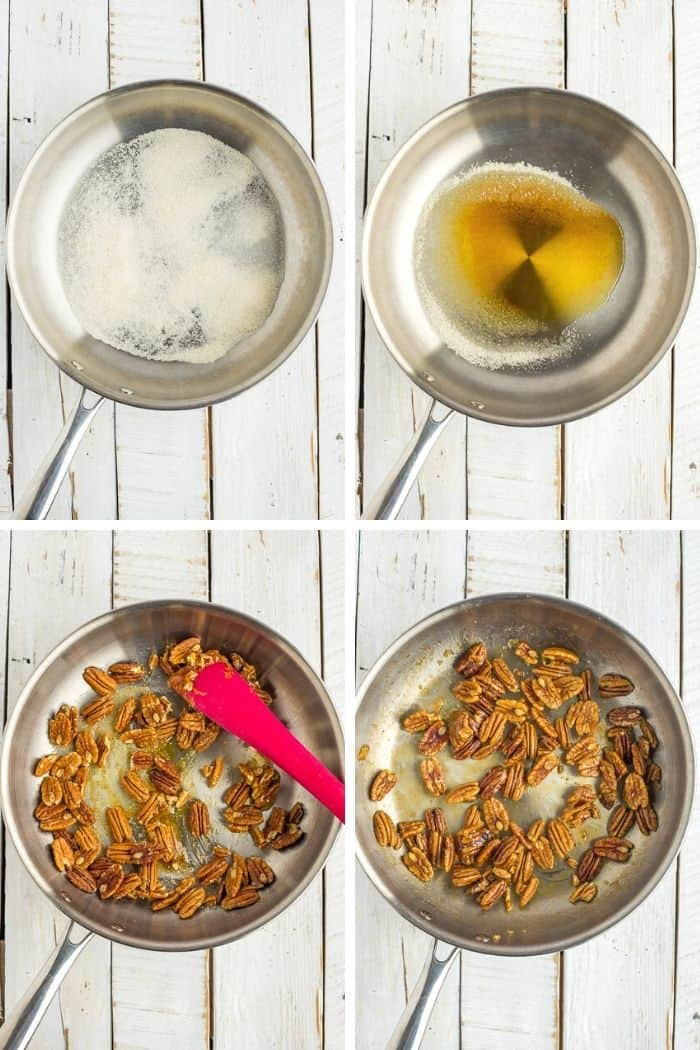 4 process shots showing how to make candied nuts