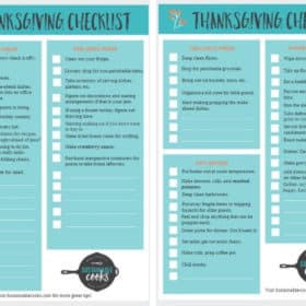 two pages from a free thanksgiving checklist