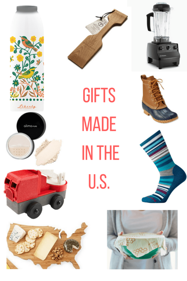 Gift guide for gifts made in the US. From water bottles to socks, this is an array of locally made gifts in a variety of prices to fit any budget.