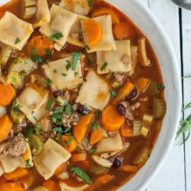 instant pot vegetable soup in a white bowl