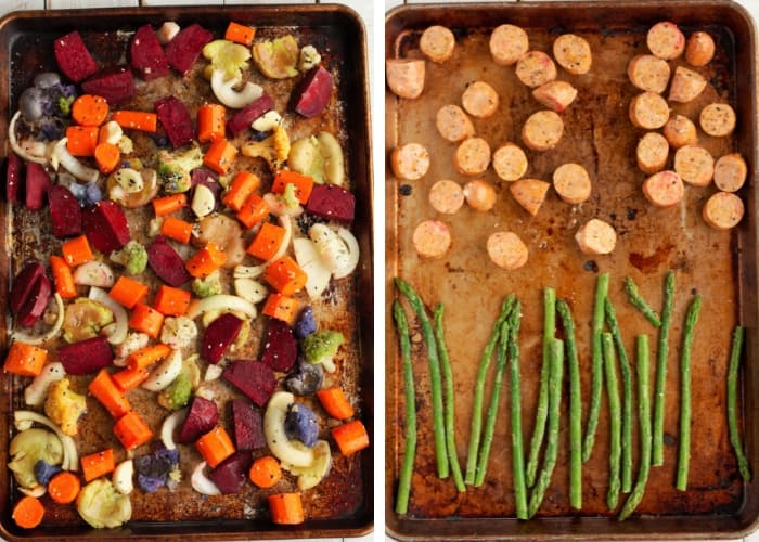 two sheet pans - one with veggies and one with sliced chicken sausage and asparagus