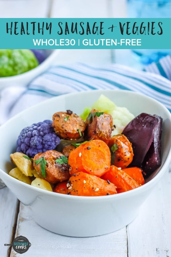 A fast dinner that is pure comfort food, Sheet Pan Sausage and Veggies is gluten-free, dairy-free, Whole30 compliant, and paleo. Full of flavor and packed with tons of (frozen!) veggies, this sheet pan dinner is a meal prep dream. #sustainablecooks #sheetpandinner #whole30dinner #sausageandveggies