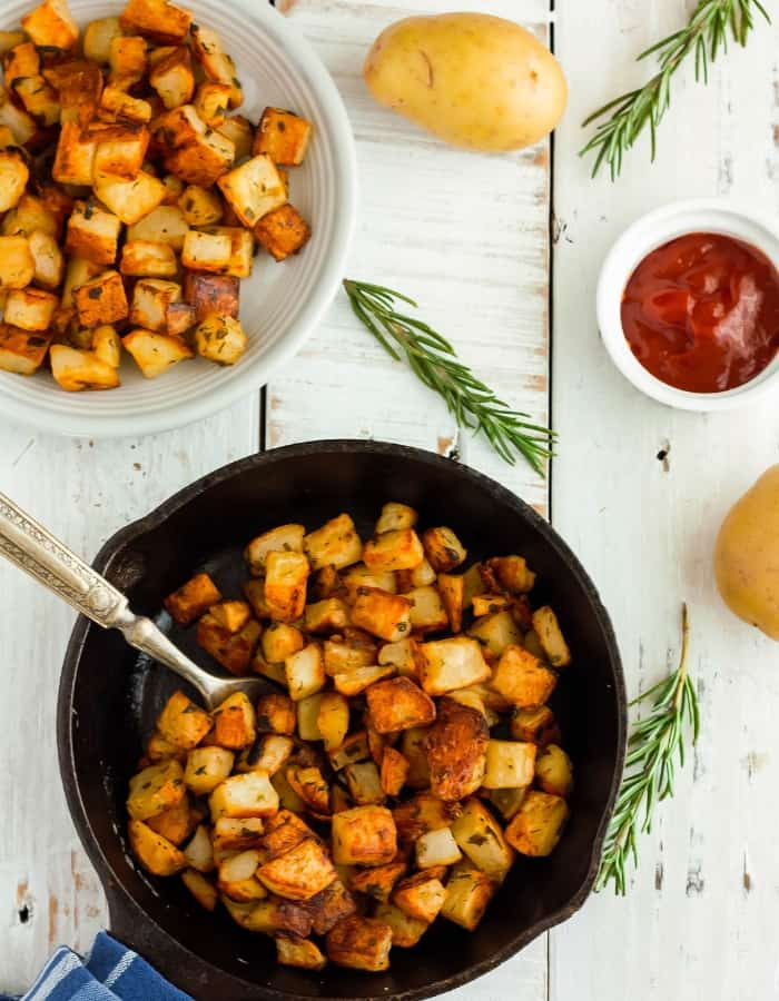 a dish of skillet fried potatoes