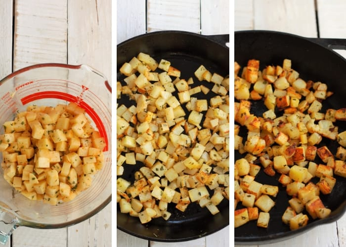 three photos showing how to make cast iron skillet fried potatoes