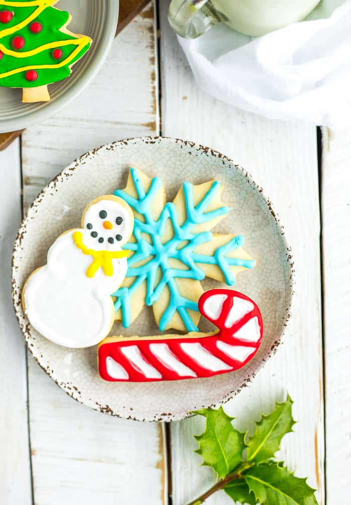 sugar cookies on a white plate