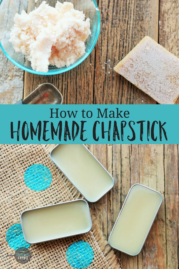 This DIY project with step by step photos will show you how to make homemade chapstick. This natural recipe uses only five organic ingredients like coconut oil. #sustainablecooks #lipbalm #homemadechapstick #diybeauty #naturalbeauty #bathandbeauty #beeswax #homemadegifts