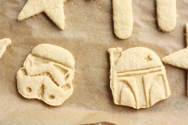 star wars sugar cookies on a piece of parchment