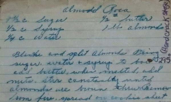 an old hand-written recipe for almond roca