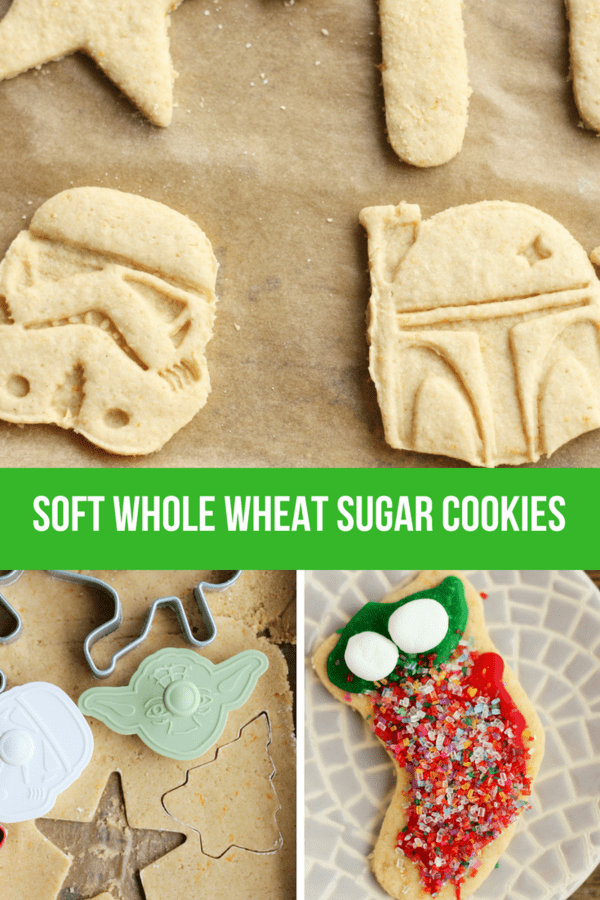 Delicious and Soft Whole Wheat Sugar Cookies are the best sugar cookies you'll ever try. So soft that no one will know they're whole grain AND healthier. #sustainablecooks #wholewheat #sugarcookies #christmascookies