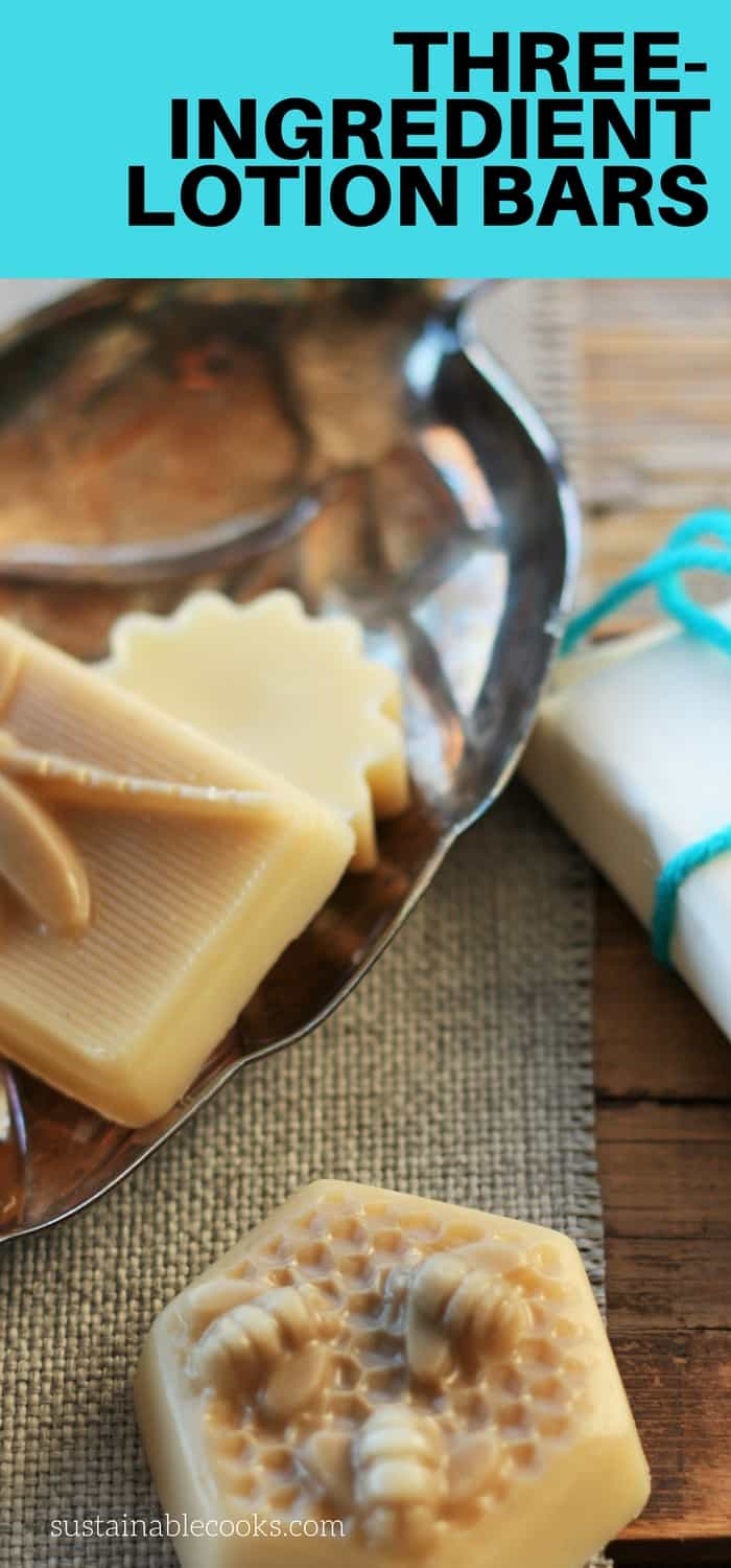 These lotion bars are fast, easy, and versatile. Lotion bars with three ingredients are about to become your new favorite DIY beauty item. #sustainablecooks #cosmetics #handmade #organicbeauty