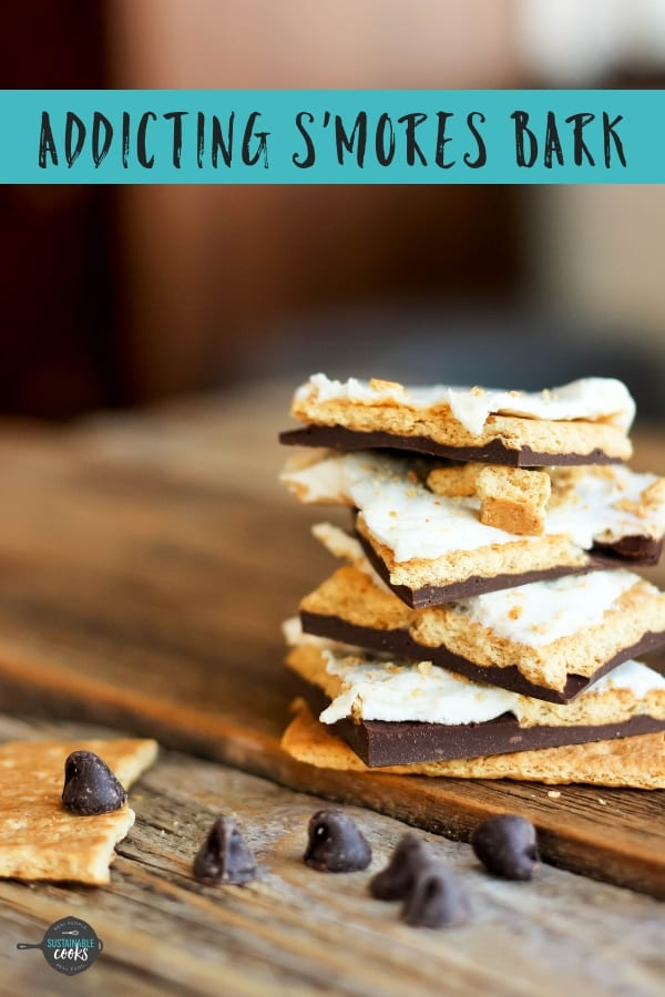 Addicting S'mores Bark is an easy recipe with melty chocolate, soft marshmallows, and crispy graham crackers. This addicting bark makes a perfect gift for the holidays.