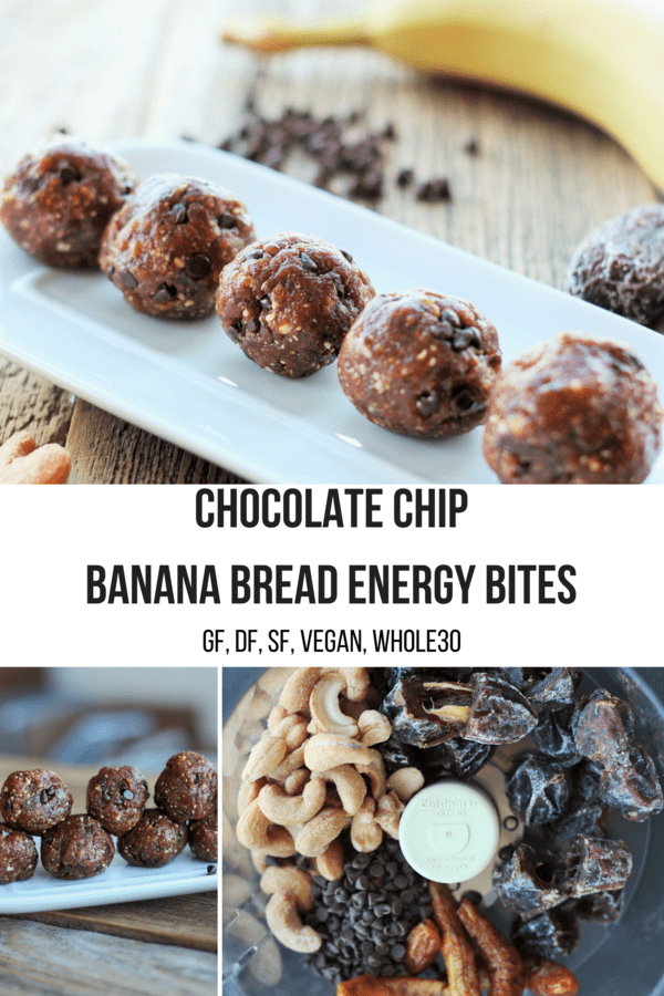 Chocolate Chip Banana Bread Energy Bites are delicious little flavor bombs that just so happen to be gluten-free, dairy-free, refined sugar-free, vegan, and Whole30 approved.