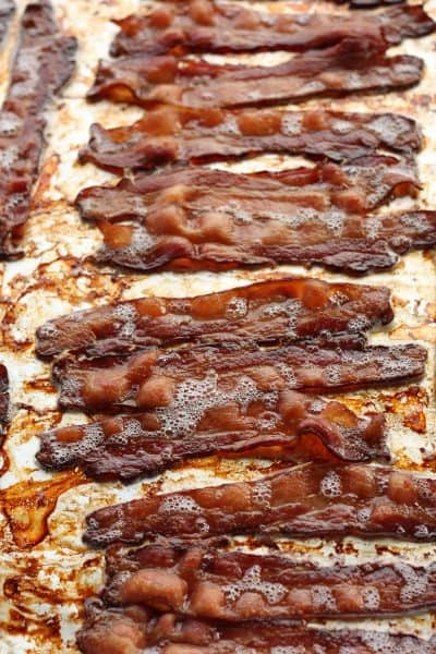 crispy bacon on a baking sheet