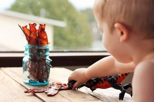 bacon in mason jar with dinosaur